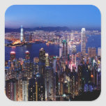 Puerto de Hong Kong Victoria en la noche Pegatina Cuadrada