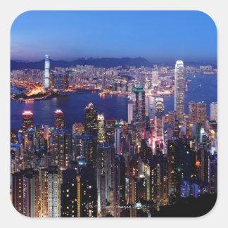 Puerto de Hong Kong Victoria en la noche Pegatinas Cuadradases