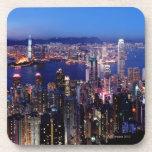 Puerto de Hong Kong Victoria en la noche Posavaso