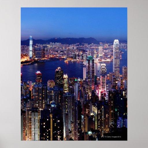 Puerto de Hong Kong Victoria en la noche Póster