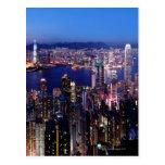 Puerto de Hong Kong Victoria en la noche Tarjeta Postal