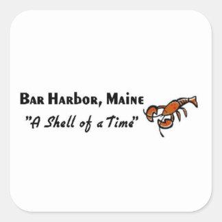 Puerto de la barra, langosta de Maine Pegatina Cuadrada
