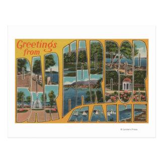 Puerto de la barra, Maine - escenas grandes de la Tarjeta Postal