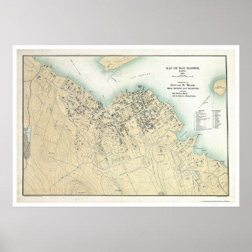 Puerto de la barra, YO mapa 1896 del plan Póster