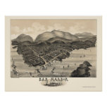 Puerto de la barra, YO mapa panorámico - 1886 Póster