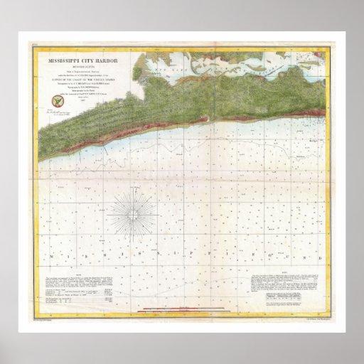 Puerto de la ciudad de Mississippi del mapa de la  Poster
