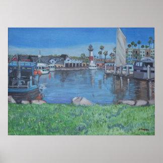 Puerto de la costa, California Poster