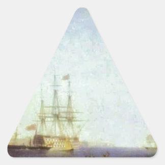 Puerto de Malta Valetto de Ivan Aivazovsky Pegatina Triangular