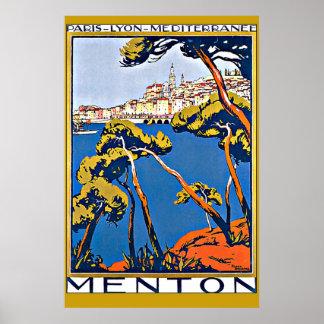 Puerto de Menton Francia Póster