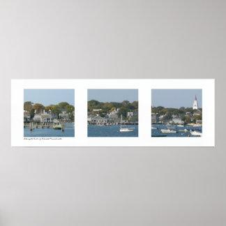 Puerto de Nantucket, tríptico de Massachusetts Póster