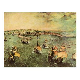Puerto de Nápoles de Pieter Bruegel Postal
