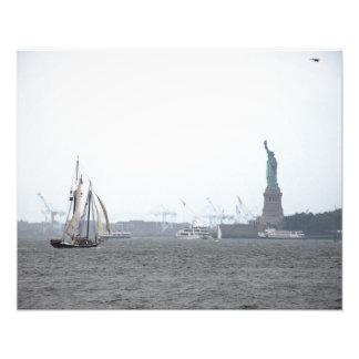 Puerto de Nueva York en niebla Fotografía