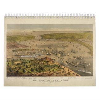 Puerto de Nueva York por curtidor y Ives en 1878 Calendarios