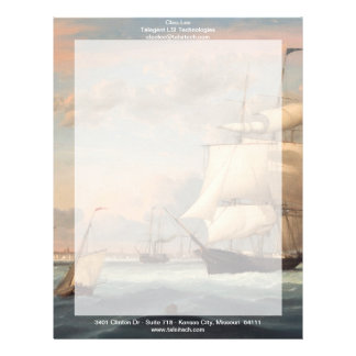Puerto de Nueva York por el carril 1852 de Fitz He Plantillas De Membrete