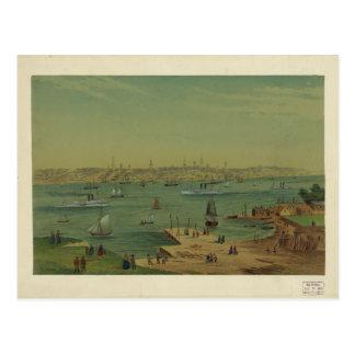 Puerto de Portland Maine en 1854 por W.S. Hatton Postal