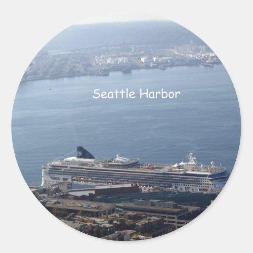 Puerto de Seattle Pegatina Redonda