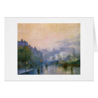 Puerto de Thames por la pintura impresionista alem Tarjetas