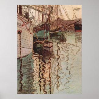 Puerto de Trieste de Egon Schiele arte del vintag Posters