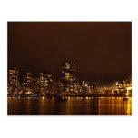 Puerto de Vancouver en la noche Tarjeta Postal