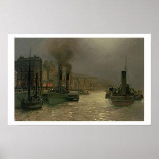 Puerto de Whitby - noche, 1899 (aceite en lona) Posters