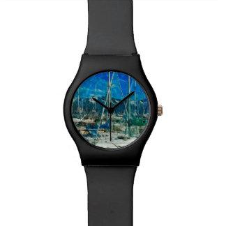 Puerto del impresionismo abstracto de Seward Alask Relojes De Pulsera