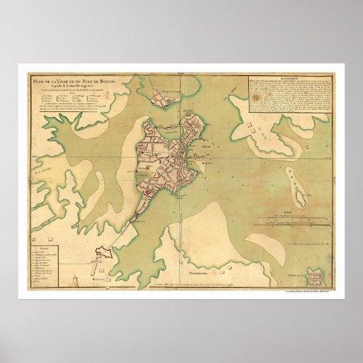 Puerto del mapa 1764 de Boston Massachusetts Impresiones