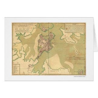 Puerto del mapa 1764 de Boston Massachusetts Tarjeta