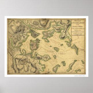Puerto del mapa 1775 de Boston Póster