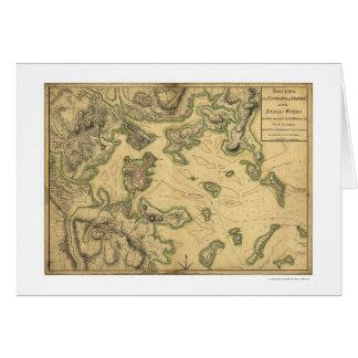 Puerto del mapa 1775 de Boston Tarjeta De Felicitación