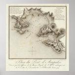 Puerto del mapa de Acapulco Póster