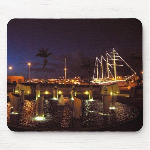 Puerto del velero en la noche alfombrillas de ratón