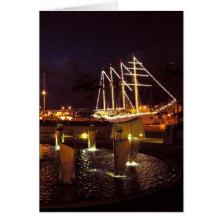Puerto del velero en la noche felicitaciones