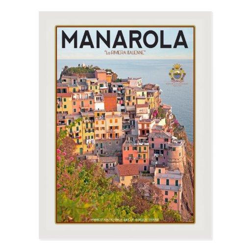 Puerto del viñedo de Manarola - en blanco Postal