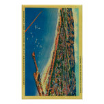 Puerto del yate, las palizadas, y Santa Mónica Posters