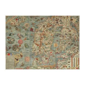 Puerto deportivo de Carta - mapa antiguo de las cr Impresión En Lienzo Estirada