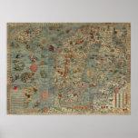 Puerto deportivo de Carta - mapa antiguo de las cr Impresiones