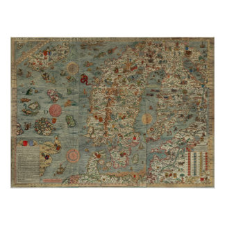 Puerto deportivo de Carta - mapa antiguo de las cr Póster