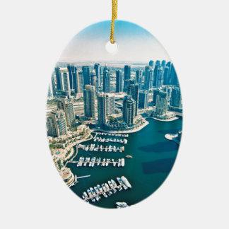 Puerto deportivo de Dubai Adorno Navideño Ovalado De Cerámica