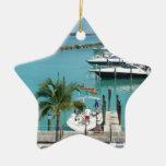 Puerto deportivo de la isleta del halcón adorno navideño de cerámica en forma de estrella