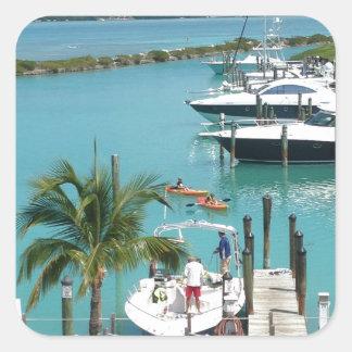 Puerto deportivo de la isleta del halcón pegatina cuadrada