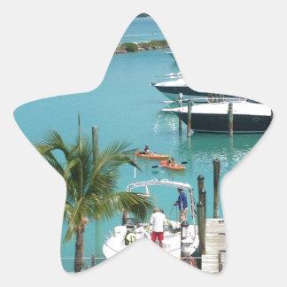 Puerto deportivo de la isleta del halcón pegatina en forma de estrella