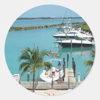 Puerto deportivo de la isleta del halcón pegatina redonda