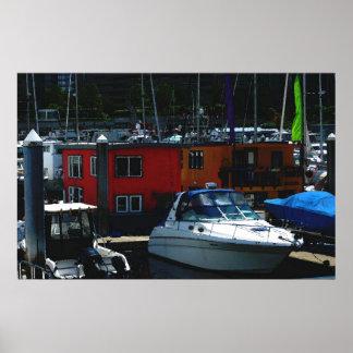 Puerto deportivo del barco de casa posters