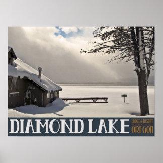 Puerto deportivo del invierno del lago diamond - n posters