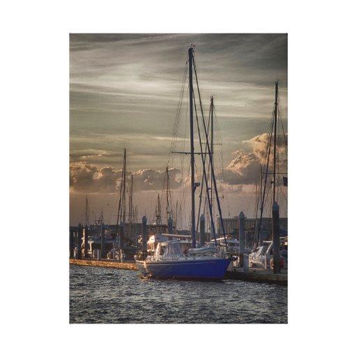 Puerto deportivo del río del tonelero impresión de lienzo