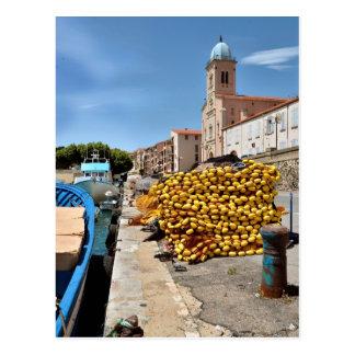 Puerto e iglesia del Port-Vendres en Francia Postal