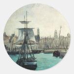 Puerto en Calais por Manet, impresionismo del Pegatina Redonda