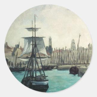 Puerto en Calais por Manet, impresionismo del Pegatinas Redondas