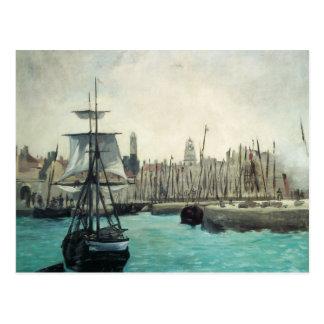 Puerto en Calais por Manet, impresionismo del Postales