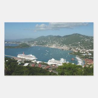 Puerto en las Islas Vírgenes de St Thomas los Pegatina Rectangular